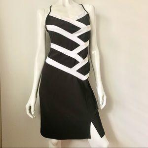 Joseph Ribkoff Black & White Spaghetti Strap Dress